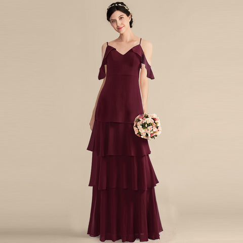 Long Bridesmaid Dresses Sweet Sleeveless Tiered Wedding Party Dresses Spaghetti Strap V-Neck Long Party Dress For Wedding