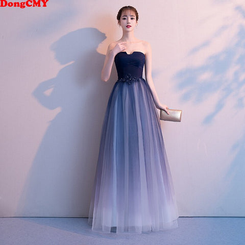 DongCMY Free shipping Long Backless Bridesmaid Dress Sleeveless Wedding Events Bridal Formal Gowns