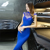 Skyyue Free shipping Evening Dress Elegant Sleeveless O-Neck Mermaid Robe Soiree Crystal Floor-Length Women Party Dresses