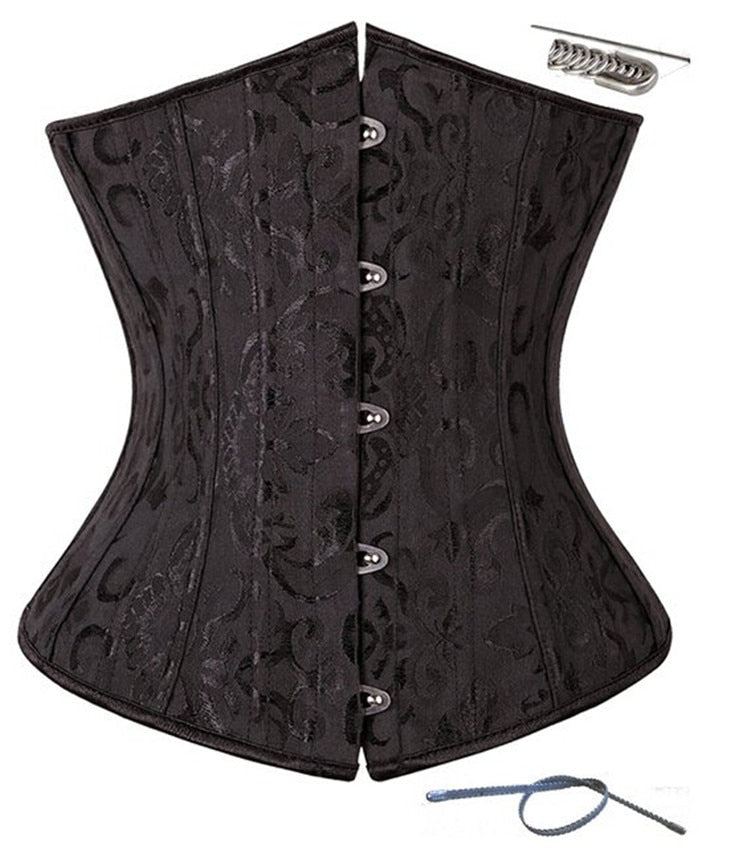 Women Sexy Satin Steel Bone Waist Cincher Body Shape Corset and Bustiers Underbust Waist Shape