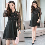 Vintage Chiffon Lace Long Sleeve Mini Dresses Autumn Winter Plus Size Black Sexy Women Bodycon Dress Elegant Party Vestidos