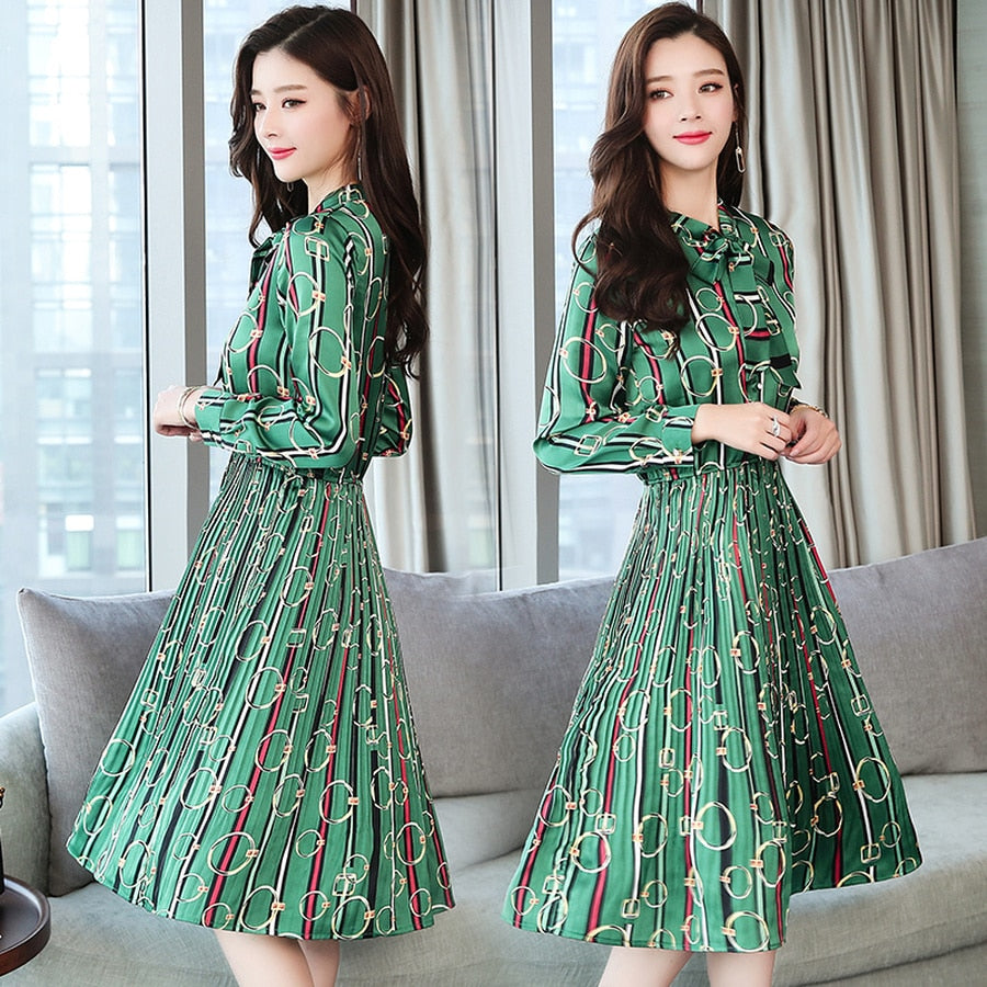 Vintage Print Long Sleeve Midi Dresses Autumn Winter 3XL Plus Size Office Lady Dress Elegant Women