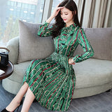 Vintage Print Long Sleeve Midi Dresses Autumn Winter 3XL Plus Size Office Lady Dress Elegant Women Bodycon Party Vestidos