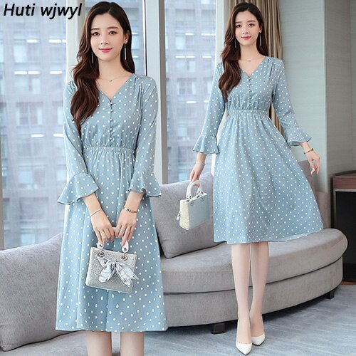 Vintage Blue Dot Chiffon Long Sleeve Midi Dresses Autumn Winter Chic Plus Size Women Bodycon Dress Elegant Party Vestidos