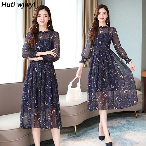 Femal Vintage Floral Chiffon Midi Dresses Autumn Winter Print Sexy Long Sleeve Dress Elegant Women Bodycon Party Vestidos