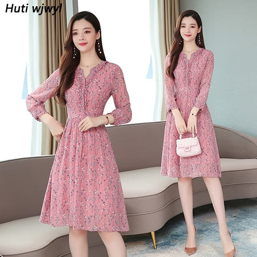 Vintage Red Floral Chiffon Chic Midi Dress Autumn Winter Femal Print Long Sleeve Dress Elegant Women Bodycon Party Vestidos
