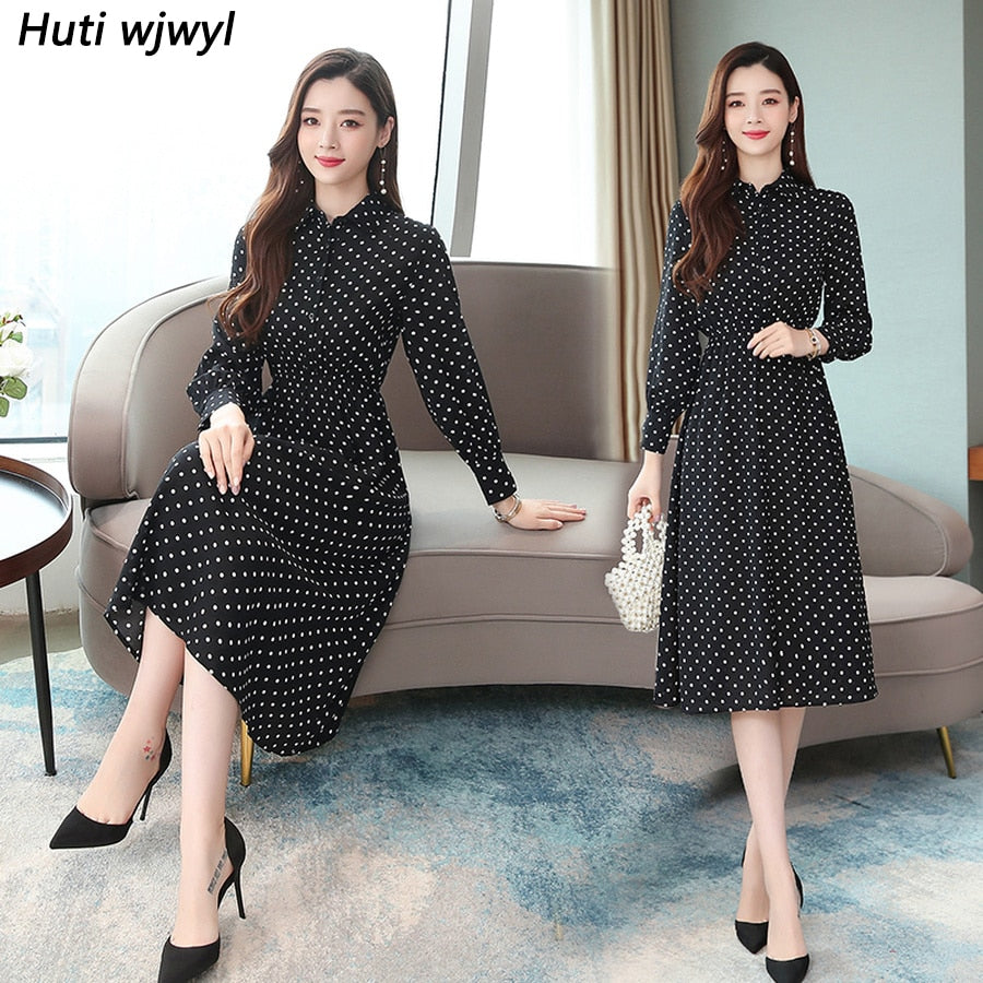 Vintage Black Dot Chic Midi Dresses Autumn Winter Femal Print Beach Long Sleeve Dress Elegant Women Bodycon Party Vestidos
