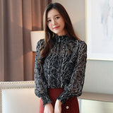 Autumn New Arrival Fashion Stand Collar Two Pieces Flower Printed Long Sleeve Woman Chiffon Blouse