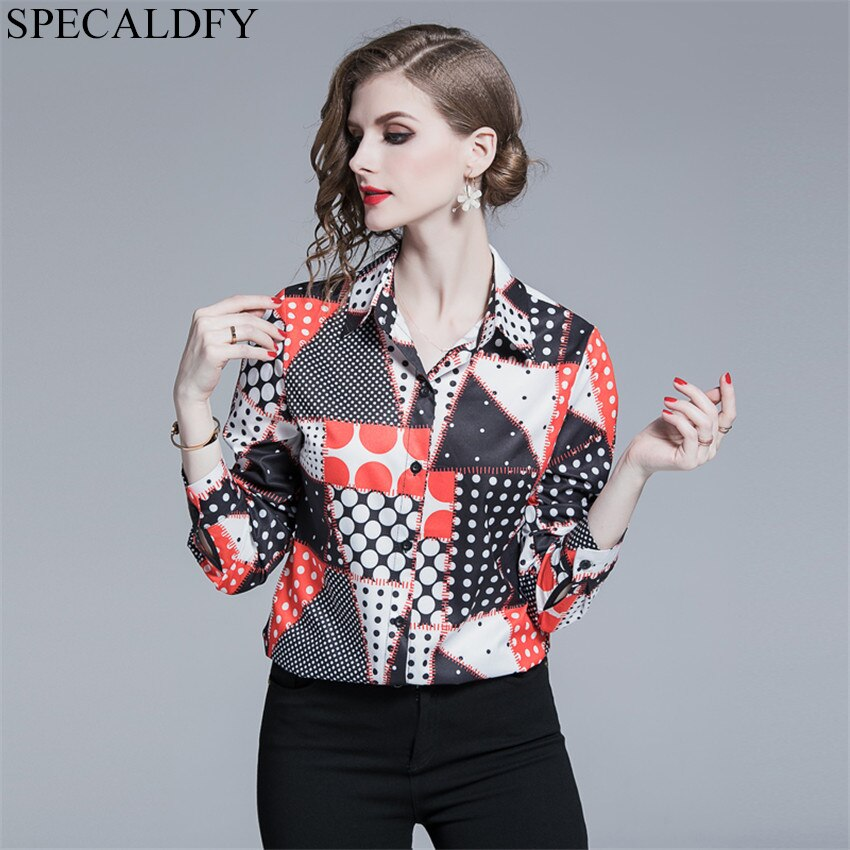 European Runway Blouse Women Long Sleeve Print Vintage Shirt Women's Tops And Blouses Chemise Femme Blusas Mujer De Moda