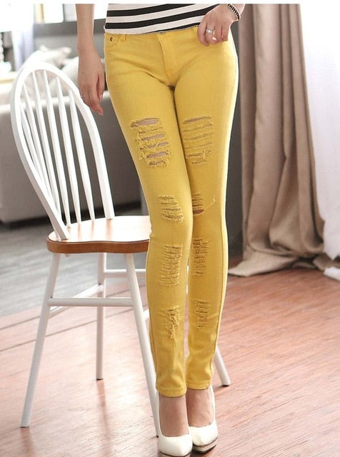 Free shipping Color Stretching Ripped Jeans Women Washed Distressed With Torn Jeans Elasticity Skinny jeans For Girls Pencil Pants