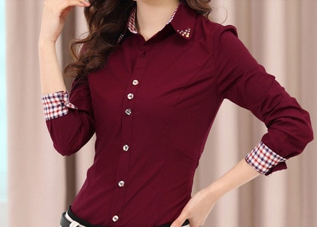 Free Shipping  Women's formal autumn professional long-sleeve plus size Chiffon Blouse Shirts Basic Top Shirt