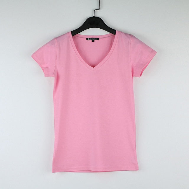 V-Neck 15 Candy Color Cotton Basic T-shirt Women Plain Simple  For Women Short Sleeve Female Tops