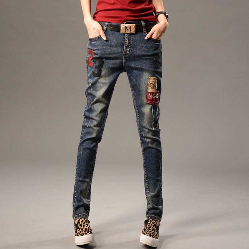 Spring  Women Jeans Ripped Harem jean Pants Vintage Jeans Patchwork Cross Denim Trousers Loose Jeans clothes
