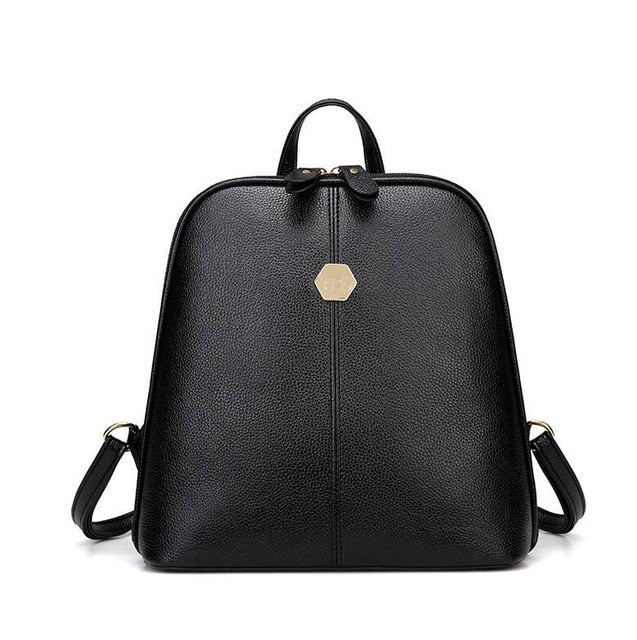 Vintage Free shipping Shell Leather Women Backpack Solid Color Black Zipper School Bag for Teenager Small Back Pack Shoulder Bag