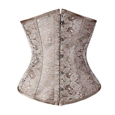 Free shipping Floral Pattern Underbust Vintage Waist Trainer Corset Top GOTH Bustiers Boned Lace Up S-2XL Read Our Size Chart