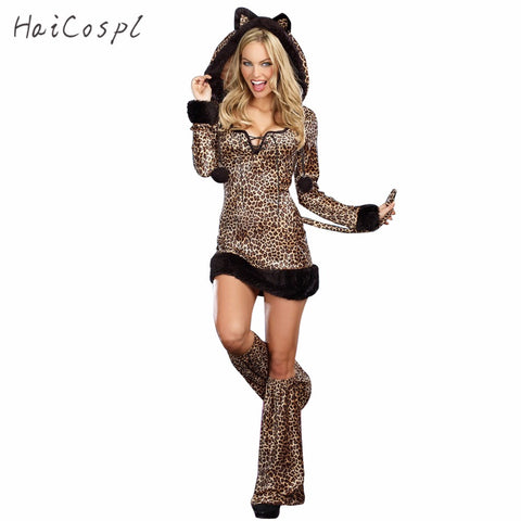 Sexy Halloween Leopard Costume For Women Animal Cat Cosplay Long Sleeves Hoodied Dress Performance Party Clubnight Suit Adult