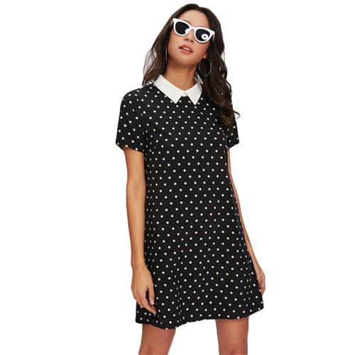 SHEIN Contrast Collar Polka Dot Straight Dress Women's Black and White Short Sleeve Casual Summer Dresses