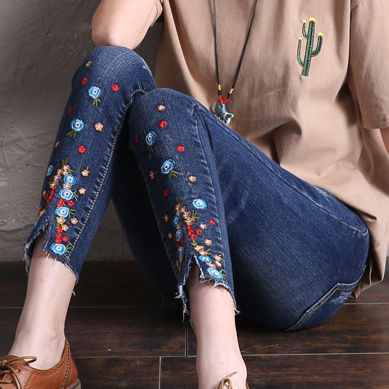 Elastic basic Free shipping women long jeans woman push up skinny jeans with embroidery slim stretch cute nice denim pants femme boyfriend