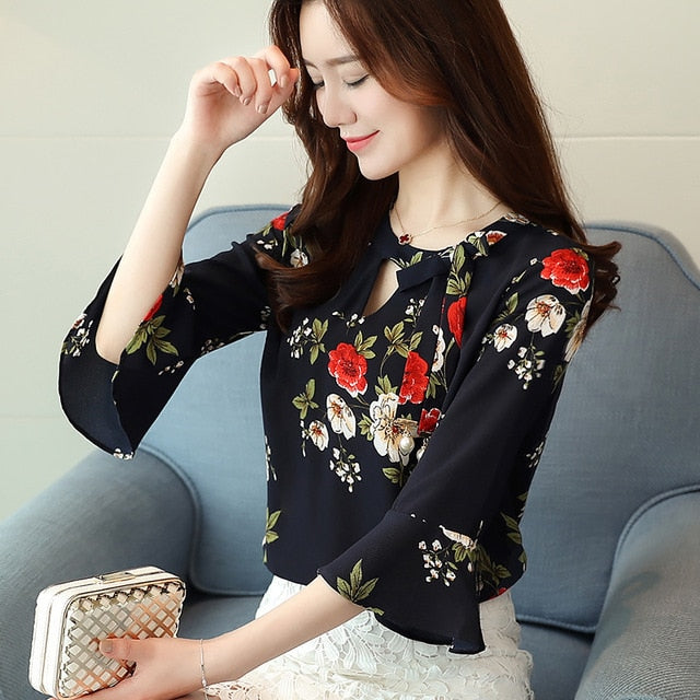 Flower printing Women Blouses shirt flare Sleeve Chiffon women's clothing casual V Collar bow women tops