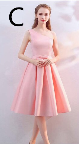Free shipping Satin short women's dresses girls off shoulder half sleeved tea length bridesmaid beach dress to party robe de soiree