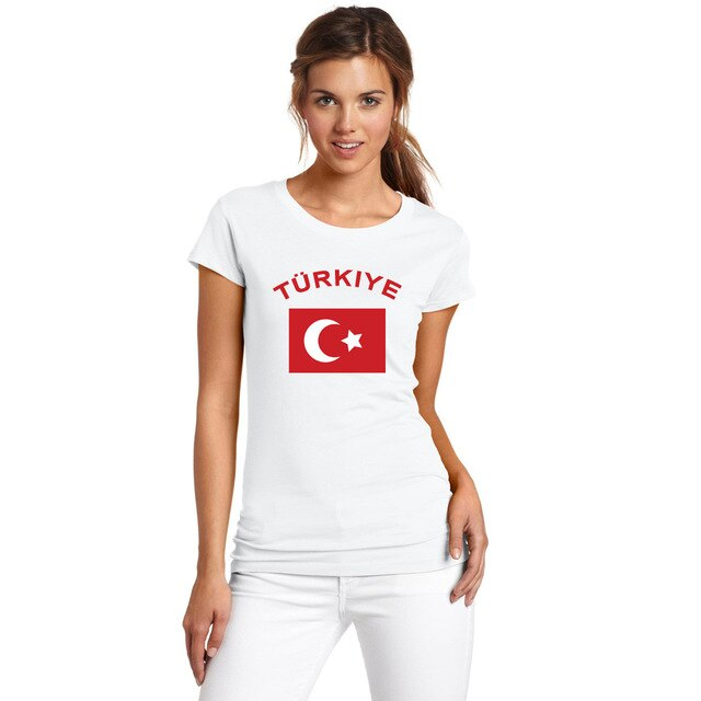 BLWHSA Turkey Free shipping Women Fans Cheer Cotton T-Shirt Fashion O-neck White Color National Flag Summer T-shirt For Women