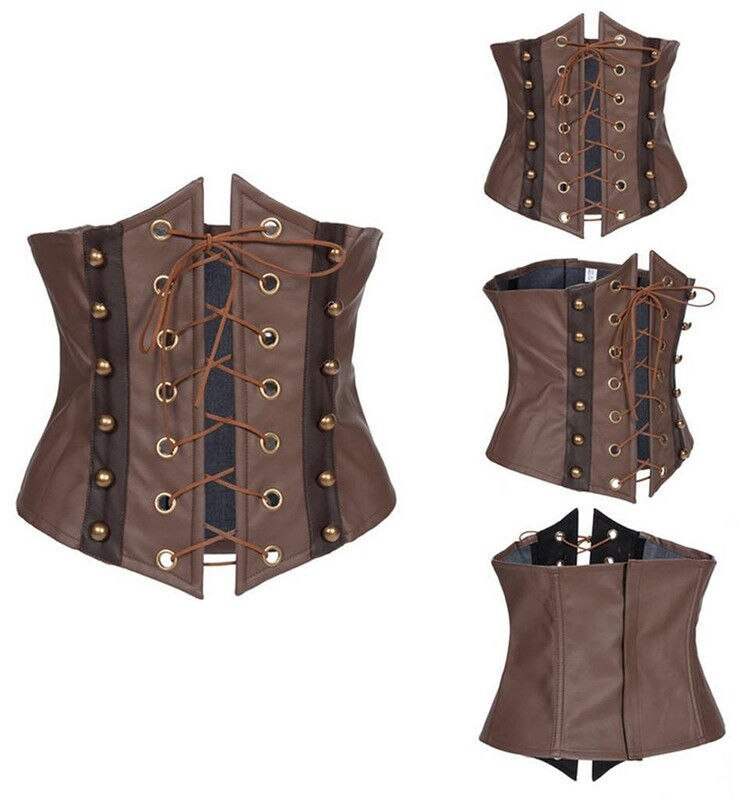 Sexy faux leather underbust corset gothic steampunk lace front waist tranier bustiers waist shape