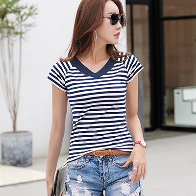 Camisas Mujer Free shipping Striped T-shirt V-Neck T-Shirt Women Printed T-Shirt Tee Shirt Femme Summer Tops Slim Casual