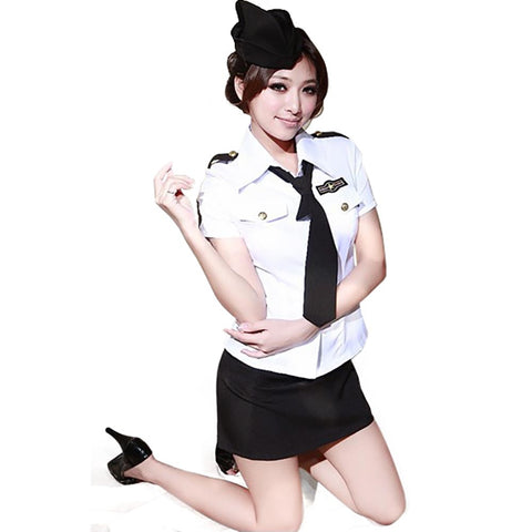 Sexy Policewoman Costume Officer Ladies Roleplay Fancy Dress Adult Cops flight attendant Uniform