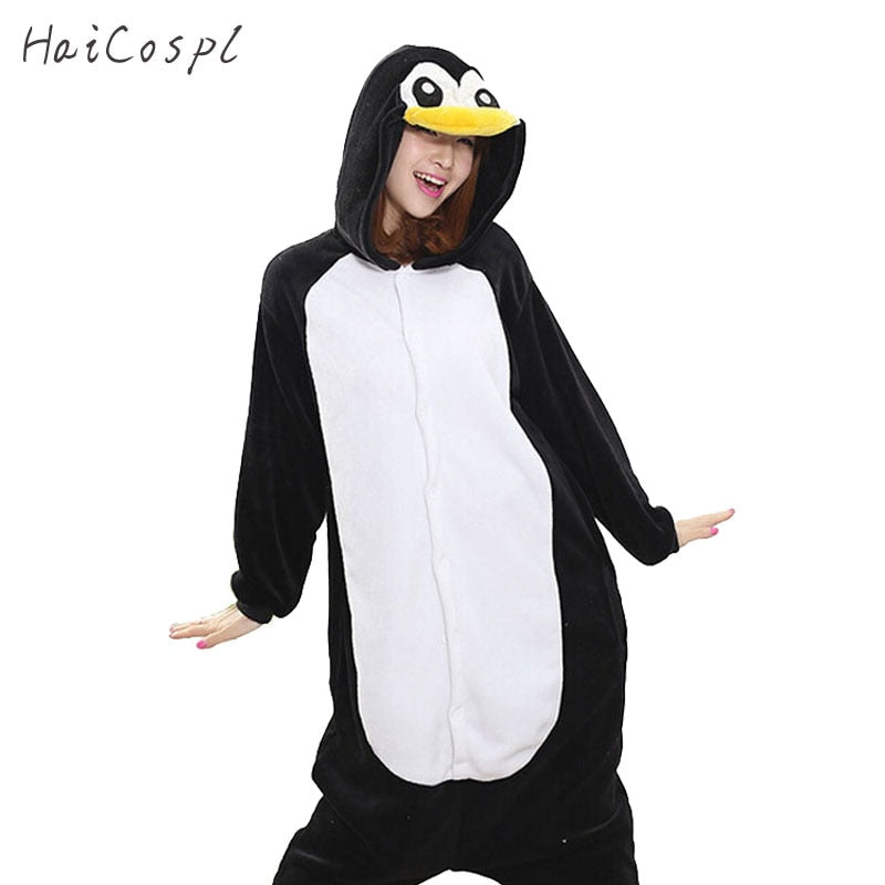 Kigurumi Penguin Onesie Women Pajama Adult Whole Animal Cosplay Costume Sleepsuit Flannel Mascot Party Winter Warm Sleepwear