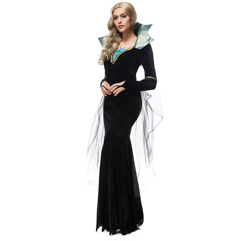Women Halloween costume luxury black elegance girls Vampire role play party long witch dress  queen Black dress