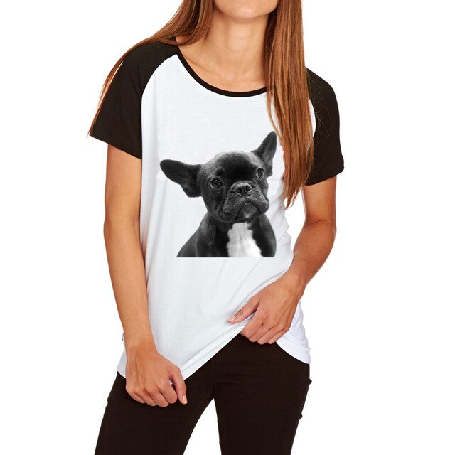 Big Size T-shirt For Women Ladies Funny Nerd Pug French Bulldog Printed T-shirt Raglan Sleeve Cotton Tops Tees Women's Clothing