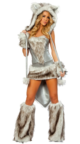 Animal Wolf Cat Faux Fur Costume Women Halloween Fancy Party Dress Carnival Sexy Cat Cosplay Outfits Stage Costume