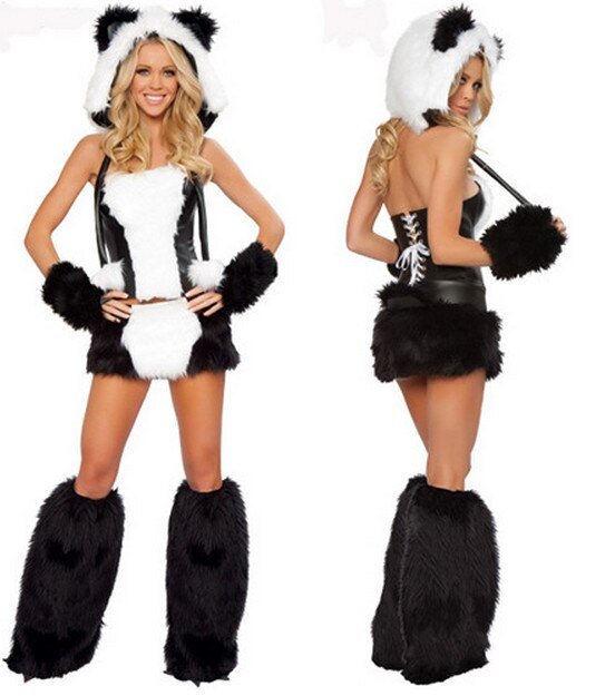 Free New Duluxe Black White Wolf Polar Bear Cat Frisky Halloween Cosplay Costume Outfit Fancy Dress W/ Big Tail For Woman