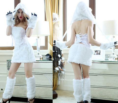 free shipping  sexy Animal Costumes White Ape Man cosplay costumes Polar bear costumes halloween costumes for women size m