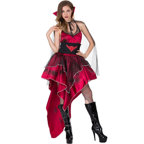 Adult Women Halloween Scary Vampire Queen Costume Sexy Red Bat Printed Asymmetric High Low Swallow Tail Dress For Ladies