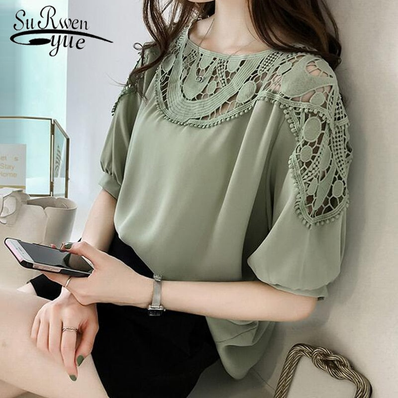 Fashion woman blouses Short Sleeve summer tops  Sexy Hollow Out chiffon Blouse Shirt Plus Size 3XL 4XL Women Tops