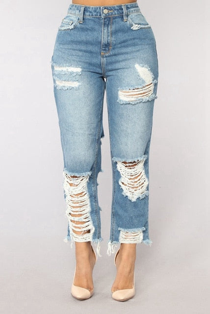 Women Sexy ripped jeans Girls jeans with high waist ladies mom denim pants boyfriend jeans