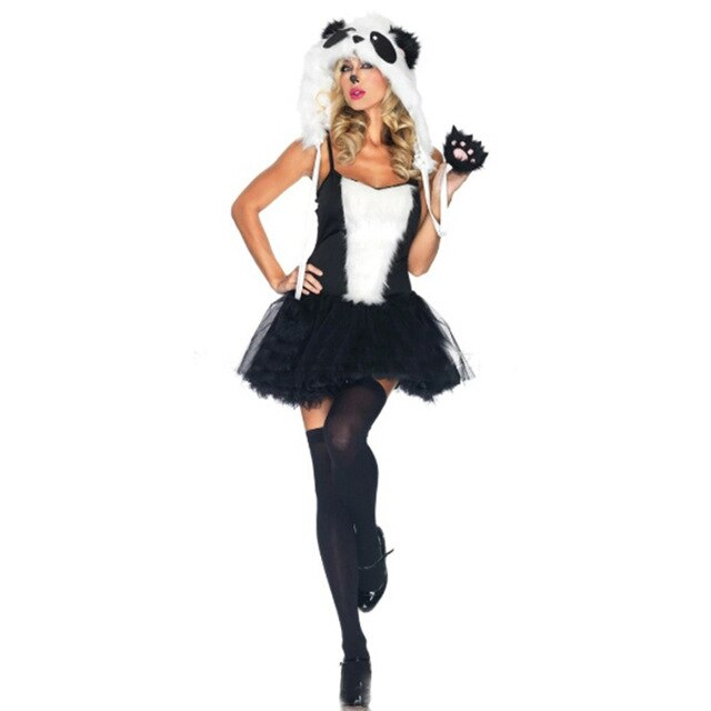 New Female Adult Halloween Panda Animal Plays Animal Hairy Set Sexy Black Party DS Costume Plush Cosplay Costume