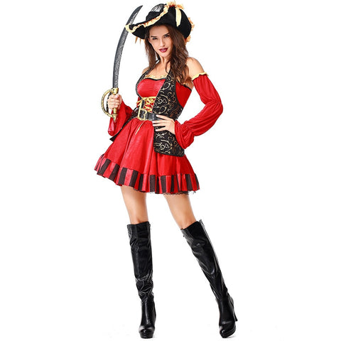 Sexy Women Pirate Costume Halloween Fancy Party Dress Carnival Perfor mance Adult Warrior Cosplay Costumes S-2XL