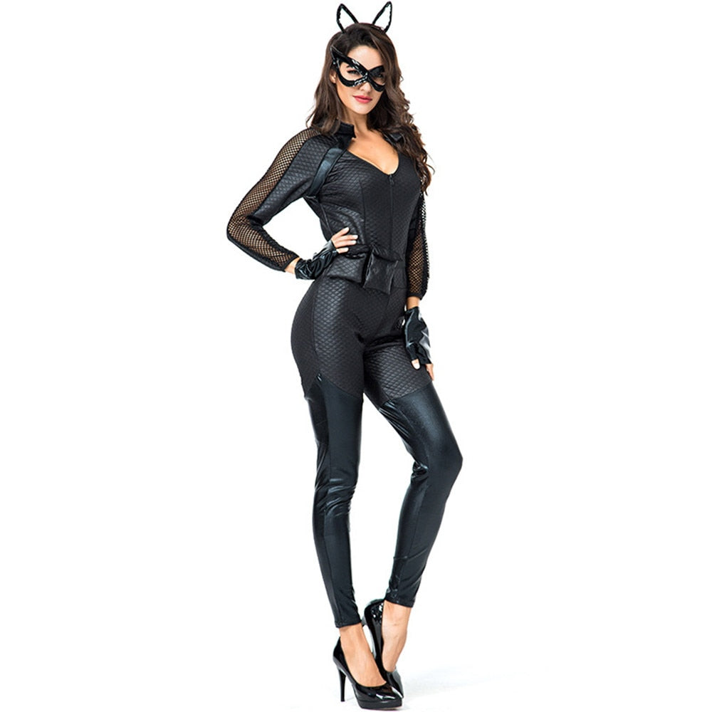 Halloween Fancy Jumpsuit Sexy Black Cat Anime Catwoman Costume Adult Girls Gothic Cosplay Clothing Hair Band