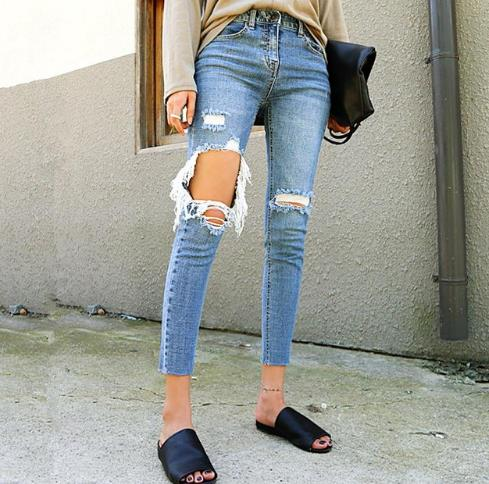 Cotton Free shipping Female Ankle Jeans Sexy Brand Ripped Jeans Women Street Denim Pants Big Holes Torn Casual Trousers Skinny Pencil Pants