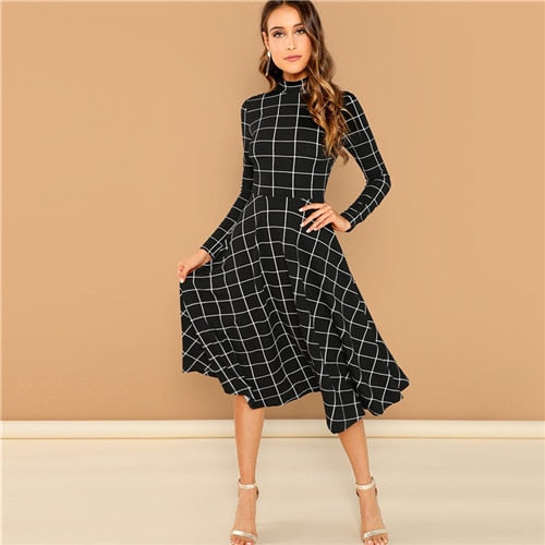SHEIN Black Elegant Plaid Print High Neck Fit And Flare Long Sleeve High Waist Dress Autumn Casual Women Long Dresses