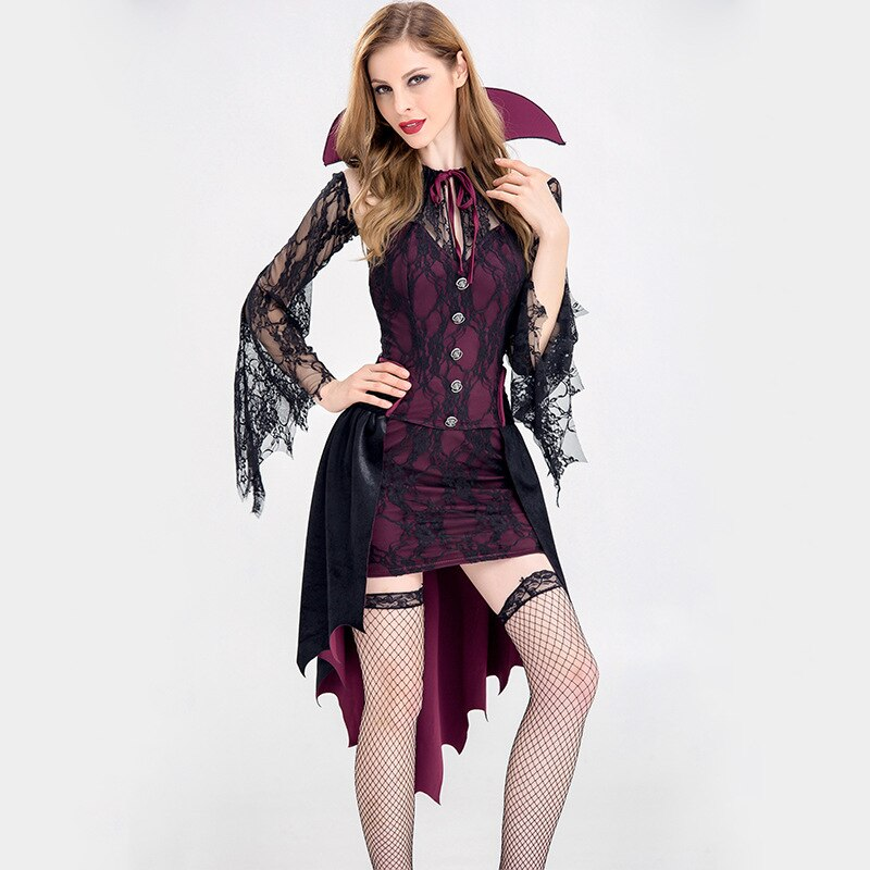Halloween Party Vampire Earl Costume Female Adult Devil Dress Masquerade Party Queen Plays Stage Dress M,L,XL