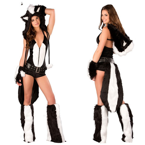 Modern Fox Animal Cosplay Costume Black Color Sexy Wild Girl Plush  Halloween Party Sleeveless Clothes With Long Tail For Women