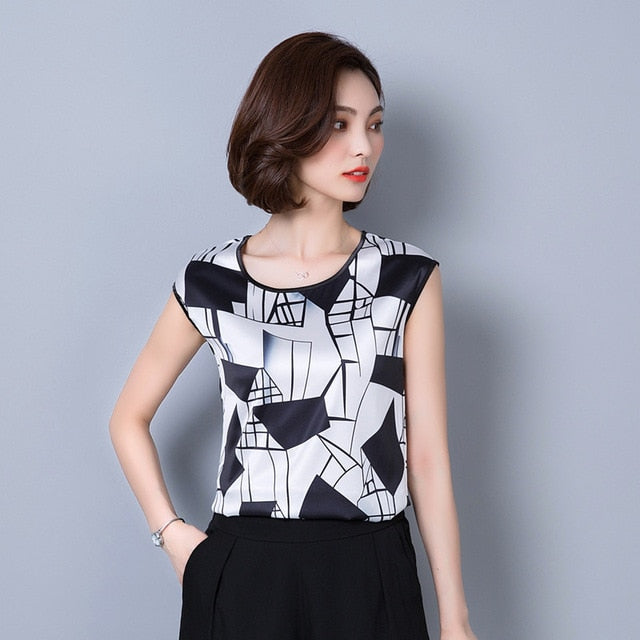 Fashion sleeveless chiffon women's clothing geometric striped plus size 5XL women blouse shirt women's tops blusas