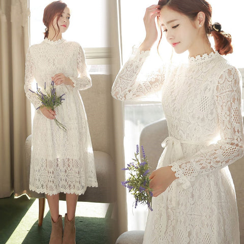 Free shipping New Spring Autumn Dress Bow Full Sleeve Lace Long Dresses White Online store for sale