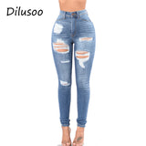 Dilusoo Women High Waist Jeans Pants Elastic Holes Denim Jeans 4 Season Pencil Pants Ripped Women's Casual Jeans Trousers