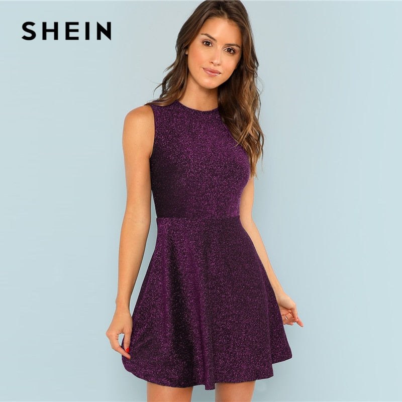 SHEIN Purple Fit and Flare Sleeveless Glitter Slim Fit Short Dress Mid Waist Elegant Casual  Solid Autumn Women Dresses