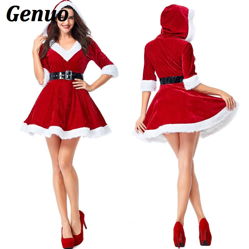 Genuo Women Christmas Costume Santa Costume Sexy Dress Half - Sleeve Plush Warm Hooded Fancy Pleated Dress with Belt Party Dress