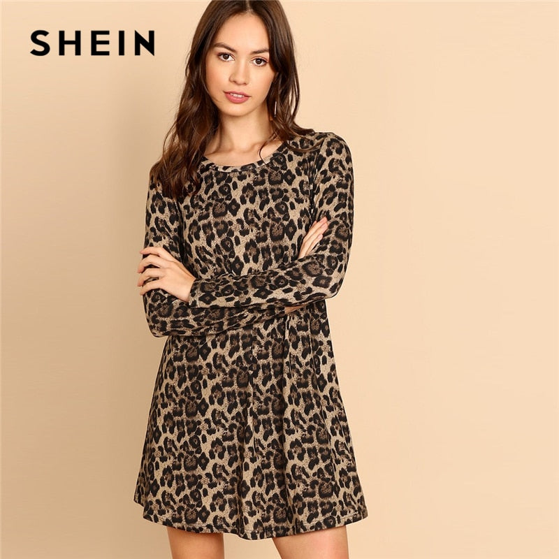 SHEIN Multicolor Leopard Print A Line Mini Dress Women Casual Long Sleeve Round Neck Autumn Minimalist Dresses
